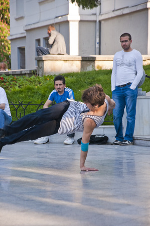 Young people performing street dance at Heykel Square, the centre of Bursa city, Turkey