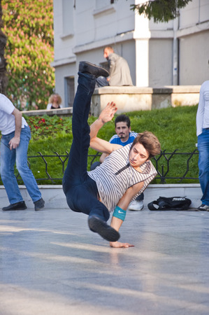 square dancing: Young people performing street dance at Heykel Square, the centre of Bursa city, Turkey