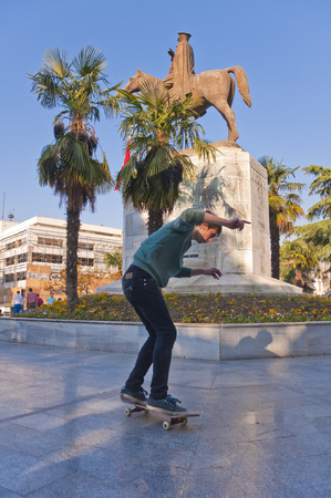 Bursa, Turkey - May 6, 2014  Young skaters practicing in Heykel Square in Bursa, the forth largest city of Turkey on May 6, 2014