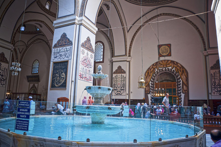 muhammed: Interior of the Great Mosque, or Ulucami in Bursa, Turkey