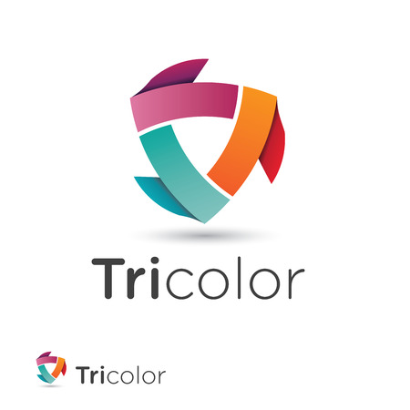 Abstract icon design with three colored ribbon shapes building a modern triangular circulation Vector