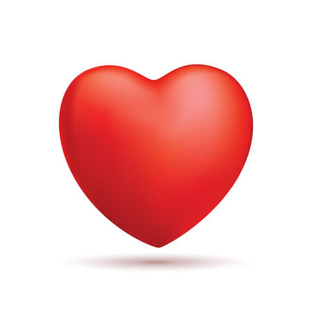 Realistic red heart icon design isolated on white Vector