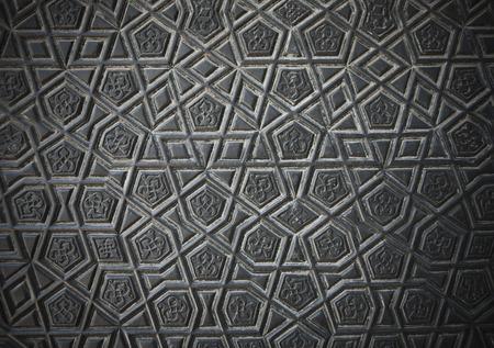 tallado en madera: Arte islámico turco, antiguas esculturas geométricas Foto de archivo