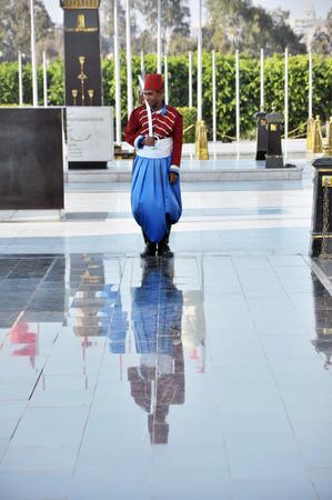 A Guard at the tomb of Sadat Anwar, Cairo, Egypt