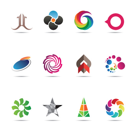 Collection of twelve creative and abstract icon designs Vector