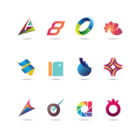 Collection of twelve creative and abstract icon designs