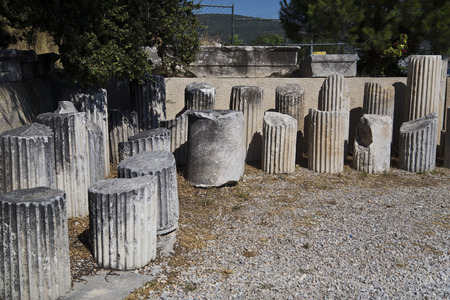 granit: Ruins in the Bodrum ancient amphitheater dating back to early Hellenistic era