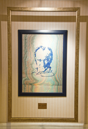 permanently: ISTANBUL, TURKEY - OCT 10, 2011  Ataturk painting of Hikmet Barutcugil, a famous Turkish artist  The artwork is permanently displayed in Ciragan Palace Kempinski Hotel