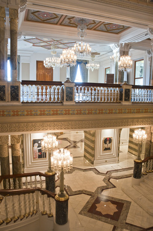Istanbul, TURKEY - June 15, 2014  Interior view from Ciragan Palace, built as a royal Ottoman Empire palace  The building serves a five-star hotel at the present, taken on June 15, 2014