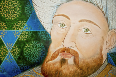 Portrait of Orhangazi, the Ottoman Ultan painted by Ismail Acar at Ciragan Kempinksi Hotel Floor Galleries