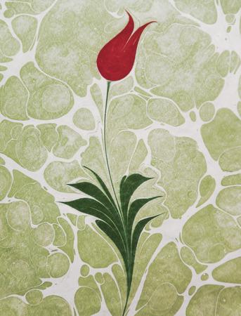 Tulip marbling art, Turkish ebru artwork Stockfoto