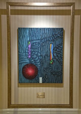 Permanent: ISTANBUL, Turkije - 10 oktober 2011 Schilderij van Ahmet Gunes Tekin, een beroemde Turkse kunstenaar Het kunstwerk wordt permanent weergegeven in Ciragan Palace Kempinski Hotel