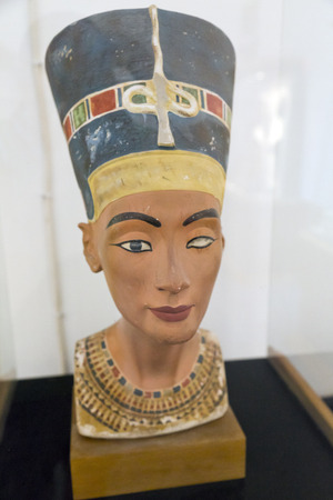 caved: Nefertiti head sculpture displayed in Bodrum Castle Museum, Turkey Editorial