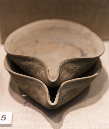 stone bowl: Detail from ancient remains in Bodrum Castle, Turkey