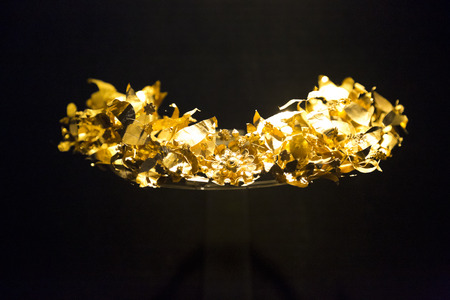 Antique golden crown of the Carian Princess displayed in Bodrum Castle Museum, Turkey Editorial