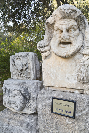 caved: Detail from ancient remains in Bodrum Castle, Turkey