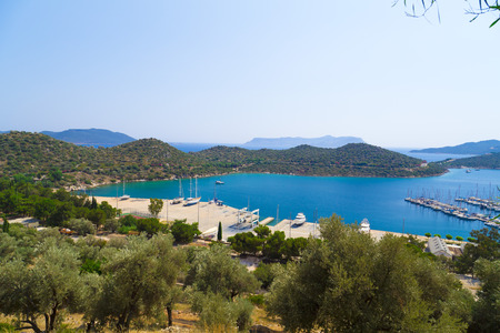 islamic scenery: Kas town, popular holiday destination near Antalya, Turkey Stock Photo