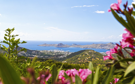 tropical beach panoramic: Bodrum, Turkey - Beautiful view from the popular holiday destination in spring time Stock Photo