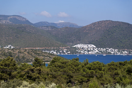 beach closed: Bodrum, Turkey - Beautiful view from the popular holiday destination in spring time Stock Photo