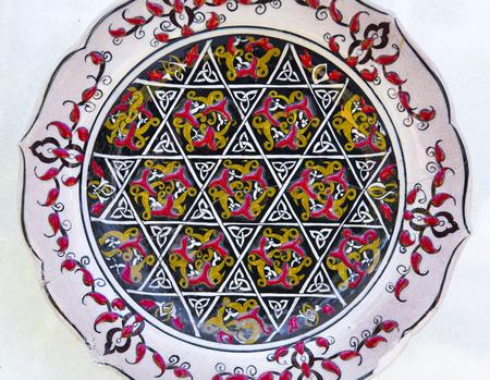 Turkish ceramic art with Iznik style floral decorations photo