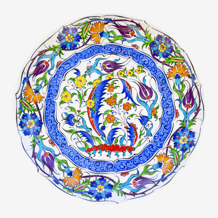 Turkish ceramic art with Iznik style floral decorations photo