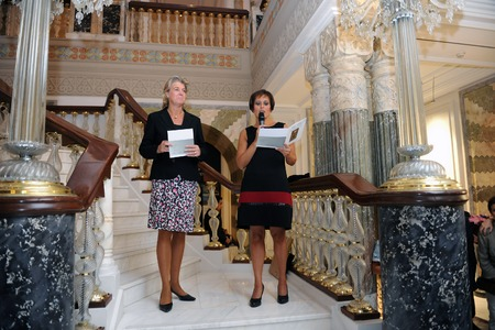 Ayse Sipahioglu and Andrea Muegge making a speech at the opening night of Taner Alakus miniature exhibition at Ciragan Palace, Istanbul