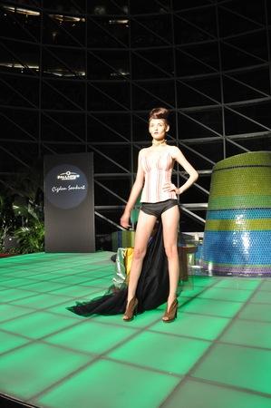 turkish woman: Fashion Show displaying Cigdem Sonkurt s latest fashion designs in Palladium Mall in Istanbul  Sonkurt is a famous Turkish fashion designer