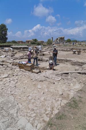renovate old building facade: Ancient city of Ephesus, Turkey