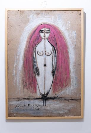 chanteur opéra: Détail de l'exposition de peinture de Semiha Berksoy, une très célèbre femme peintre turc, chanteur d'opéra et actrice