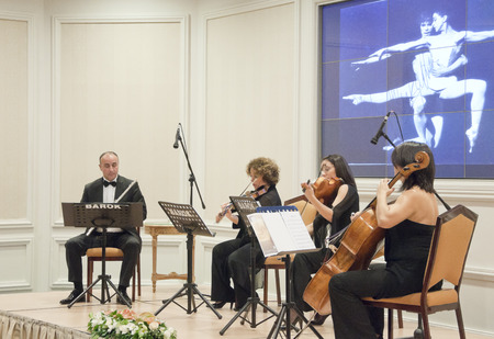 saz: Istanbul, TURKEY - June 15, 2014: Free public classical music concerts run by Ayse Sipahioglu at Ciragan Palace Kempinski Hotel, Istanbul. Taken on June 15, 2014 Editorial