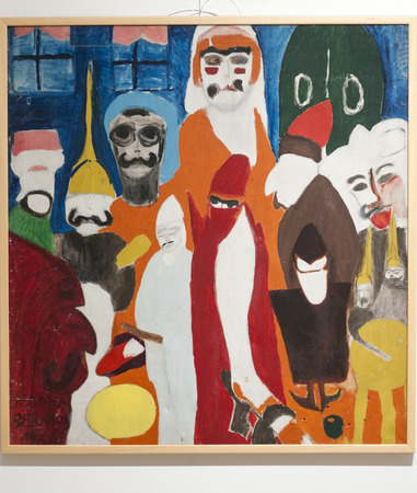 famous paintings: Detail from the painting exhibition of Semiha Berksoy, a very famous Turkish female painter, opera singer and actress Editorial