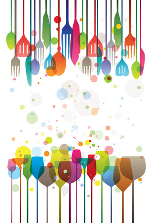 Stylized illustration of elegant drink glasses and silverware