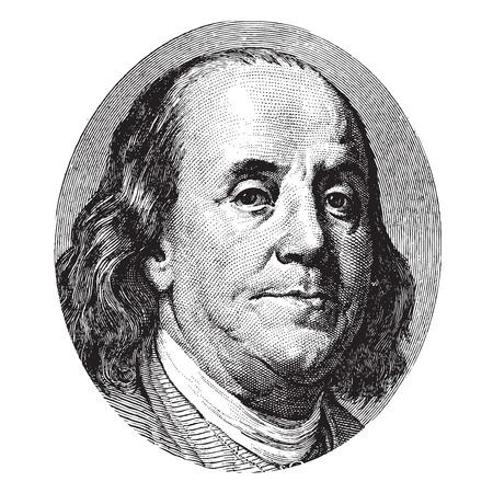 백 달러 지폐에서 벤자민 프랭클린 초상화 스톡 콘텐츠