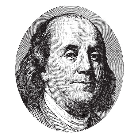 ben franklin: Benjamin Franklin portrait from a hundred US dollar bill