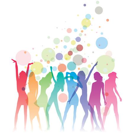 Illustration of many dancing ladies and joyful bubble decorations