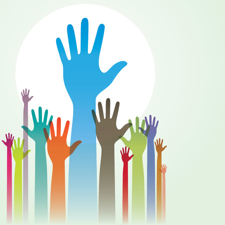 raised hand: Vector illustration of colorful raised hands