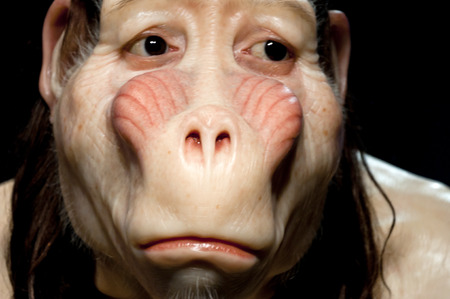 titled: Contemporary wax sculpture by Patricia Piccinini from the art show titled Hold Me Close to Your Heart at Arter Gallery, Istanbul Editorial