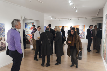 ISTANBUL, TURKEY - JAN 13, 2012: Opening night of Pinar du Pre art exhibition at Linart Gallery on January 13. Editoriali