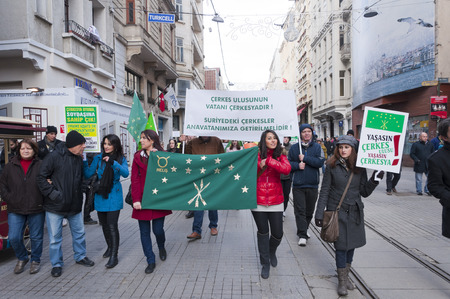 circassian: ISTANBUL, TURKEY - JAN 29: Circassian people living in Istanbul are marching for the safety and human rights of the Circassians in Syria with banners and slogans on January 29, 2012