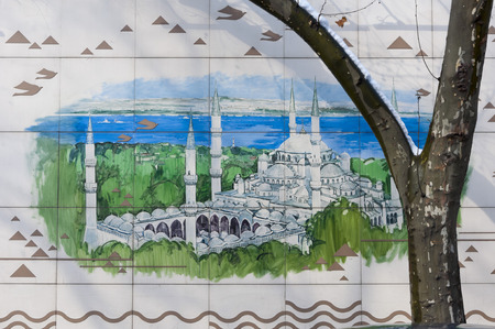 depicts: ISTANBUL, TURKEY - JAN 23: Detail from the street paintings by an anonymous artist in Ortakoy district of Istanbul on January 23, 2014. The painting depicts the famous landmark Sultanahmed Mosque. Editorial