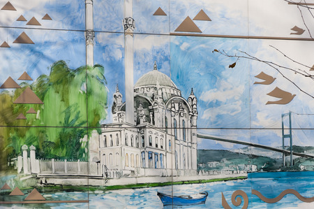 depicts: ISTANBUL, TURKEY - JAN 23: Detail from the street paintings by an anonymous artist in Ortakoy district of Istanbul on January 23, 2014. The painting depicts the famous landmark Ortakoy Mosque.