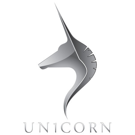 Silver Unicorn Head Vector Emblem Design Vector