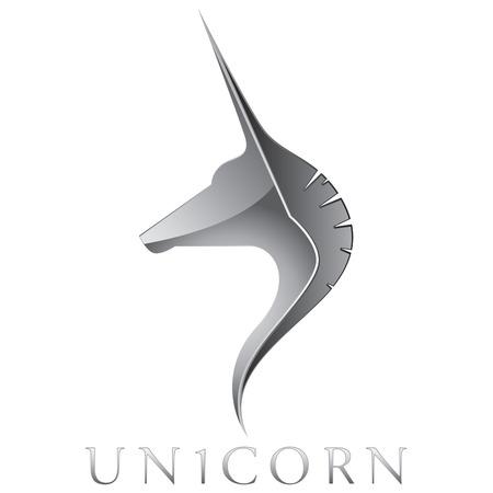 Silver Unicorn Head Vector Emblem Design Stock Illustratie