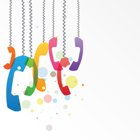Illustration with hanging colorful phone receivers, communication concept Vector