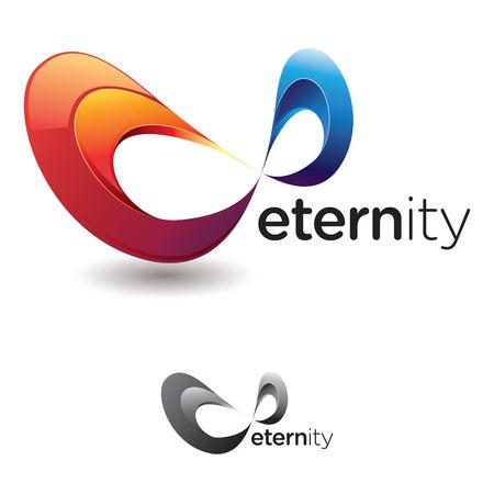 geometria: Símbolo de infinito estilizada o cinta de Moebius, con colores llamativos y la versión en escala de grises Vectores