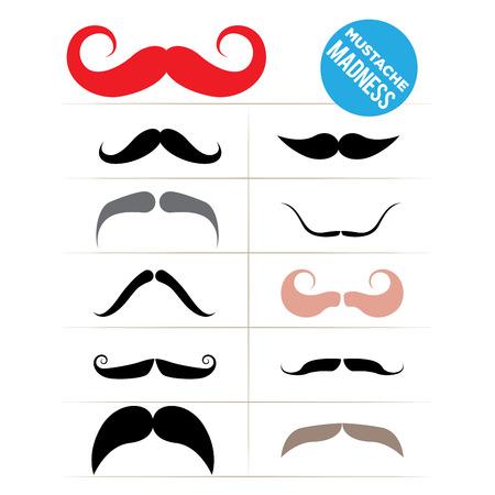Set of funky mustache types Vector