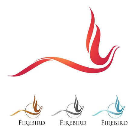 cisnes: iconos firebird con opciones de color Vectores