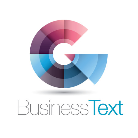 letter g: Circular business icon with stylized letter g in upper case Illustration
