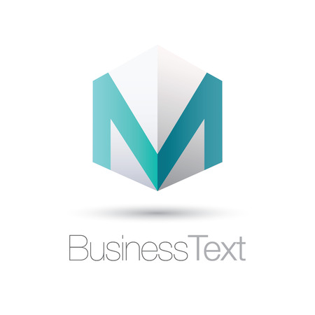 letter box: Letter M in a white cube box business icon Illustration