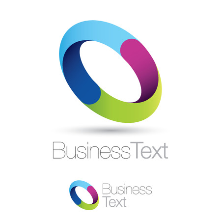Trendy color circle icon, recycling colors business concept